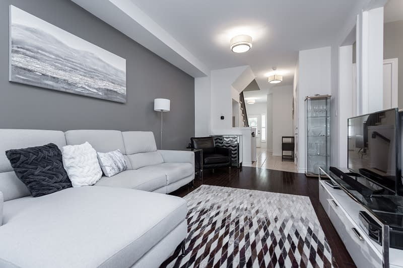 Modern Condo Living Area at 5-2086 Ghent Avenue for real estate