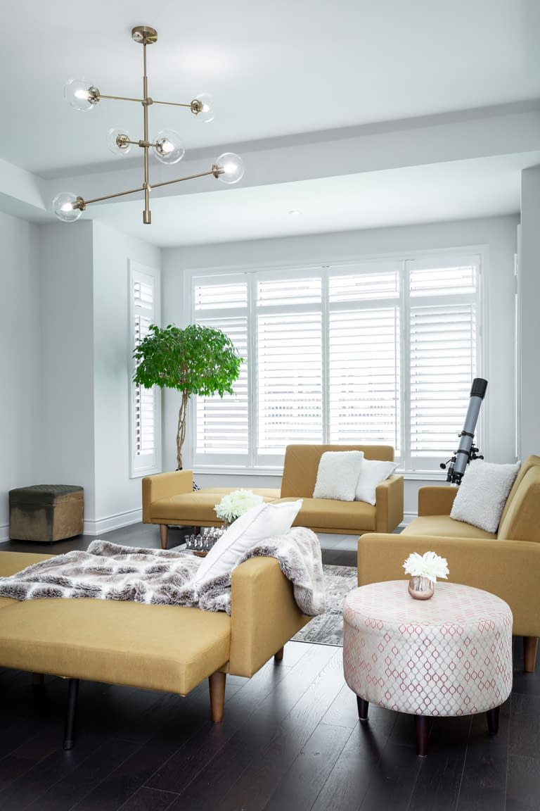 Modern open concept living room at 3050 Post Road for a real estate listing